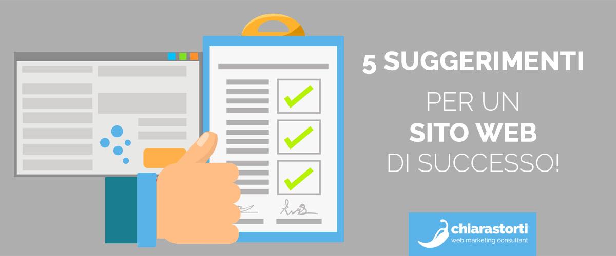 5 suggerimenti per un un sito web di successo